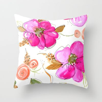 All Pink Double Spring Floral Throw Pillow Hand Painted Pillows