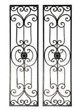 Tuscan Mediterranean Wrought Iron Wall Grille Set Of 2