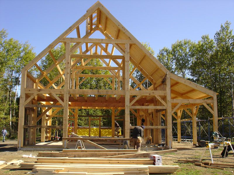 Post beam barn and writer 39 s retreat framing A frame barn plans