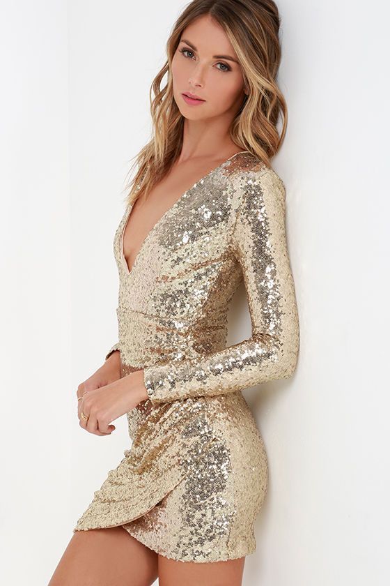 Meet Me in Times Square Gold Sequin Dress at Lulus.com! 889cb82594e7