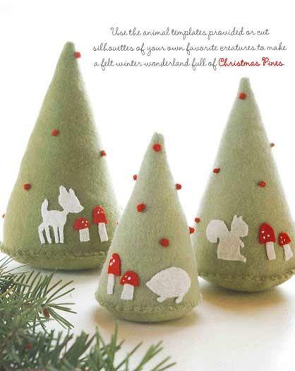 Homemade Christmas Tree Decorations using felt. Darling.