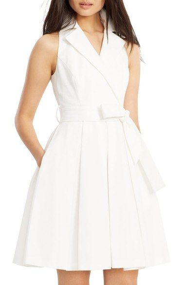 I need a white dress.  Lauren Ralph Lauren Waffle Piqué Fit & Flare Dress available at #Nordstrom