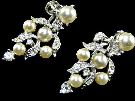 Bogoff Rhinestone and Pearl Earrings Signed Wedding Designer