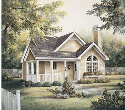 This cute cottage, with a front porch, would make a great ...