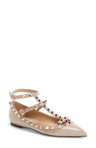 Valentino knows how to rock the studded flat with style $975