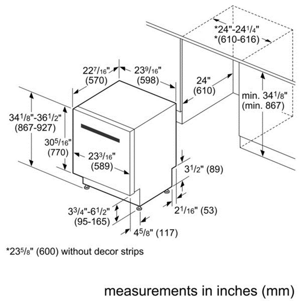 Bosch Shx9pt75uc Shx9pt75uc Dishwasher Dimensions Dishwasher Fully Integrated Dishwasher