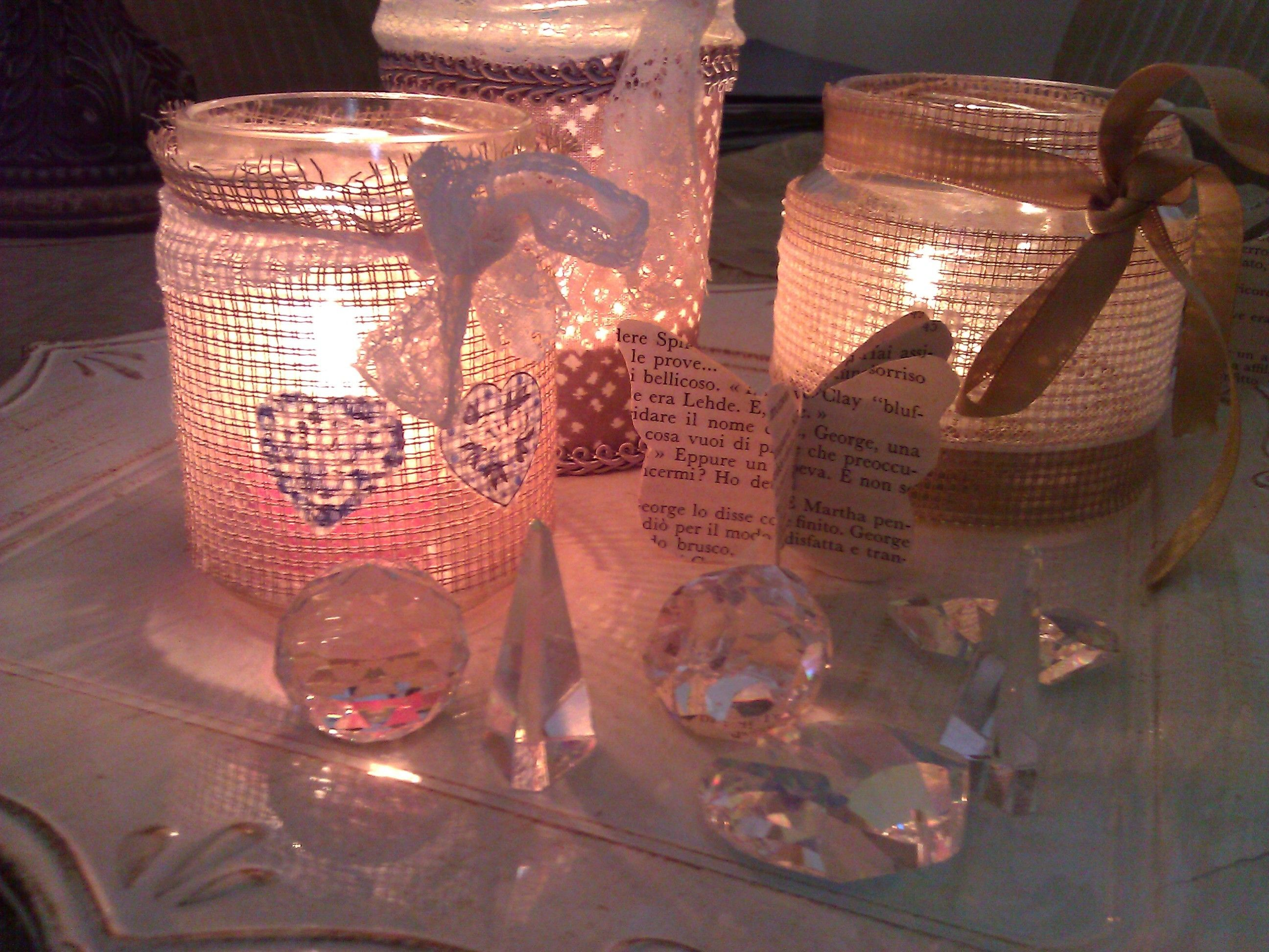 Carinissime questi porta candele shabby chic create con - Telas shabby chic ...