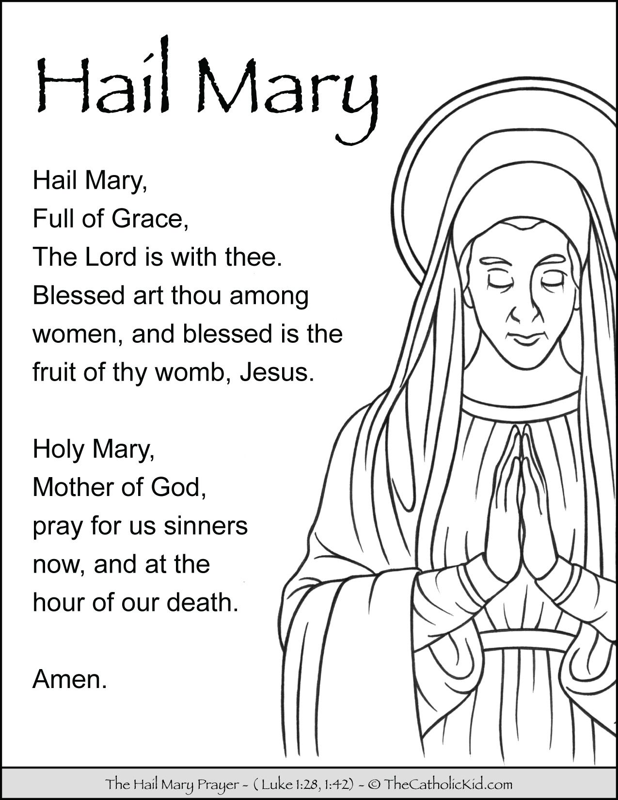 Hail Mary Prayer Coloring Page Thecatholickid Com Prayers To Mary Hail Mary Prayer Prayers