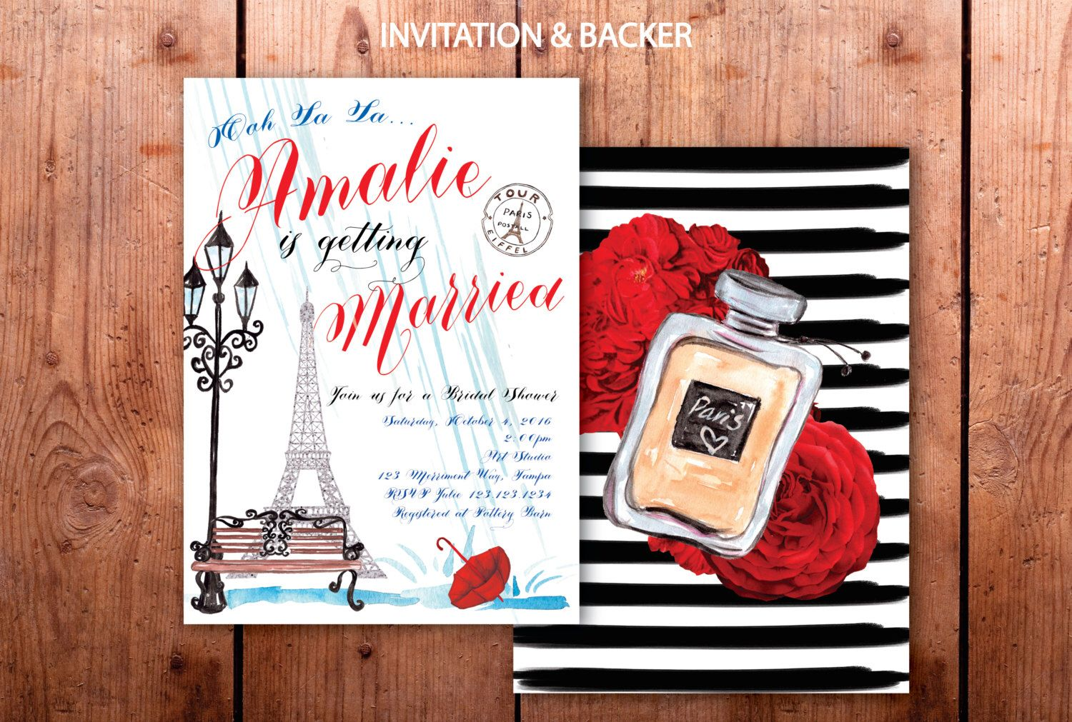 Paris Bridal Shower Invitation // French Bridal Shower // Eiffel ...