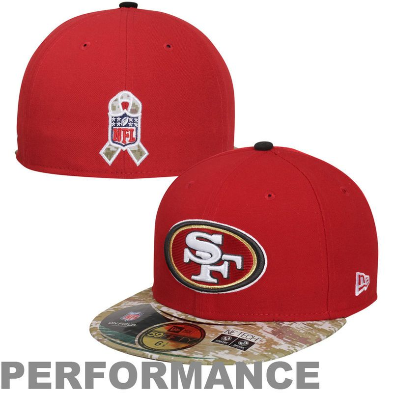 new arrival 08ff1 6a853 New Era San Francisco 49ers Salute to Service On-Field 59FIFTY Fitted Hat –  Red Digital Camo