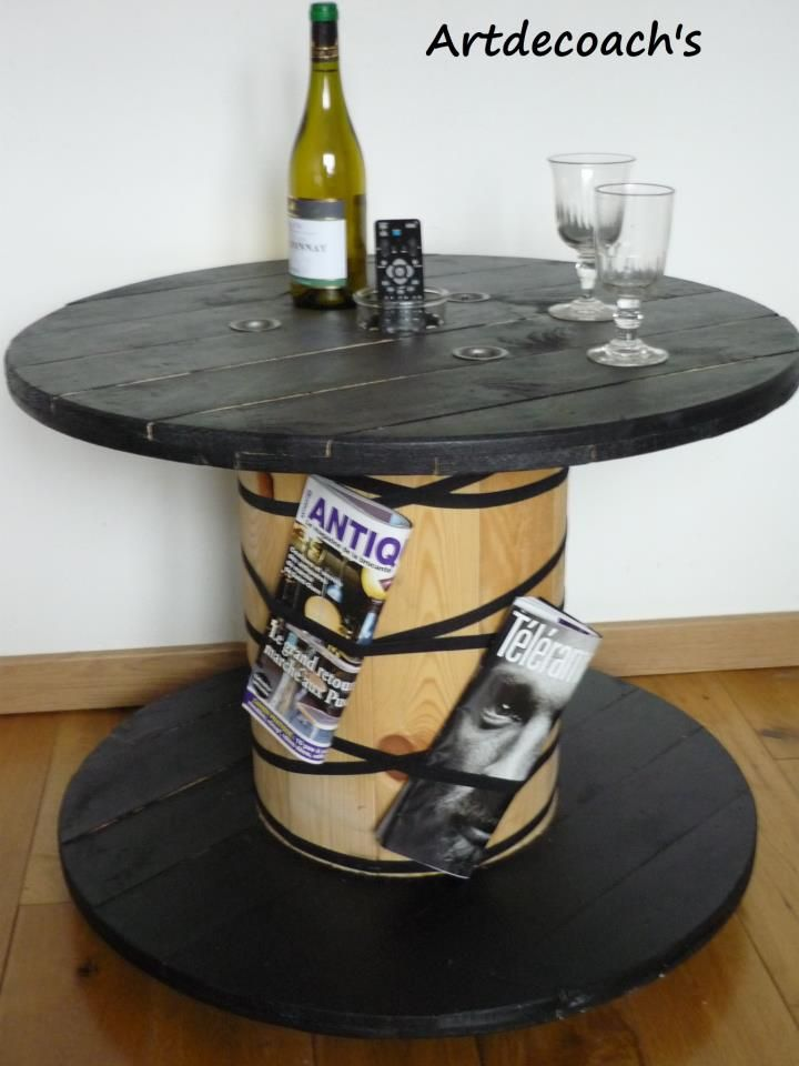 table basse et range revues cable spool art pinterest table basse bas et magazines. Black Bedroom Furniture Sets. Home Design Ideas