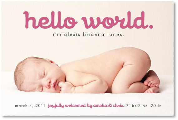 17 Best images about Birth Announcements – Baby Arrival Announcement Messages
