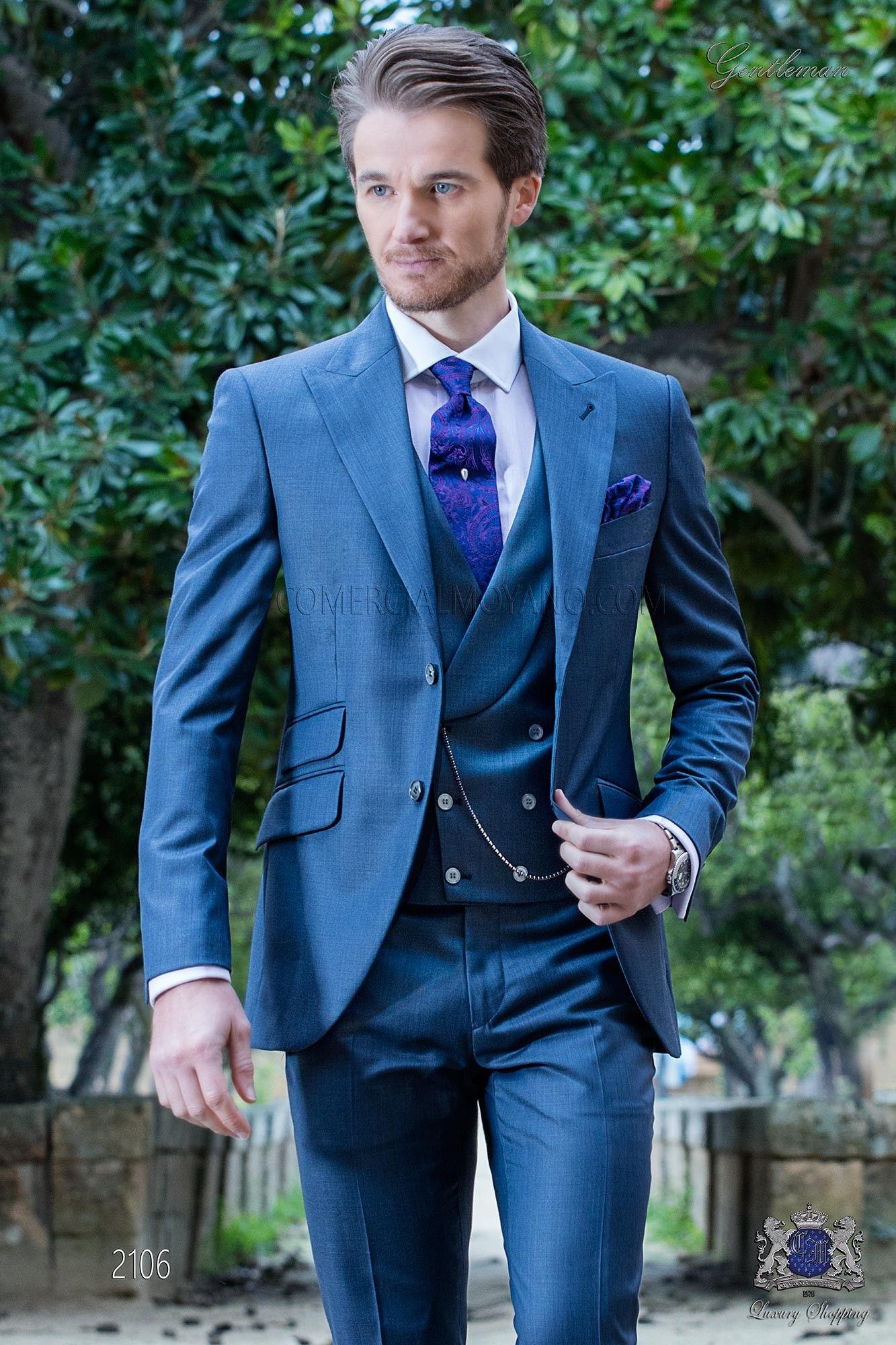 Traje italiano a medida azul fil a fil mixto lana | Gentlemen wear ...
