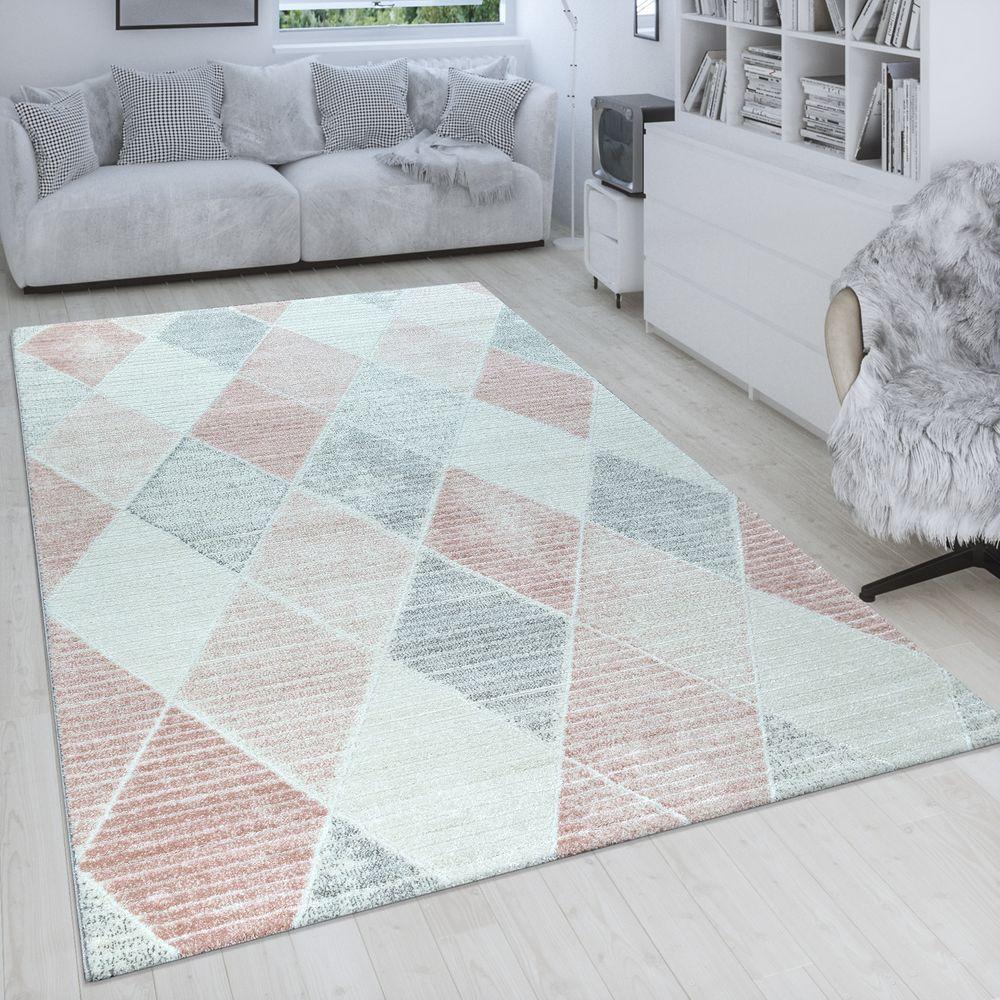 Retro Teppich 3 D Rauten Design Pastell Wohnzimmer Grau