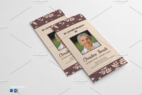 Trifold Funeral Program Template By Madhabi Studio On