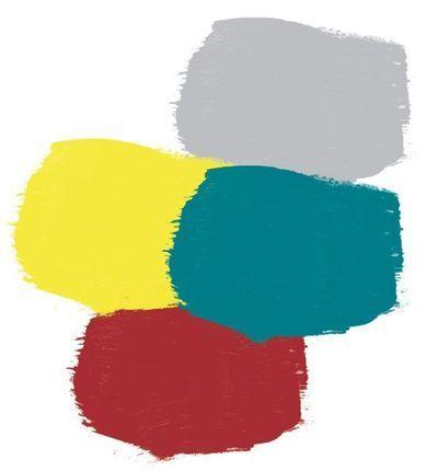 bleu canard avec du jaune moutarde du gris et du bordeaux pour un style recup industrielle