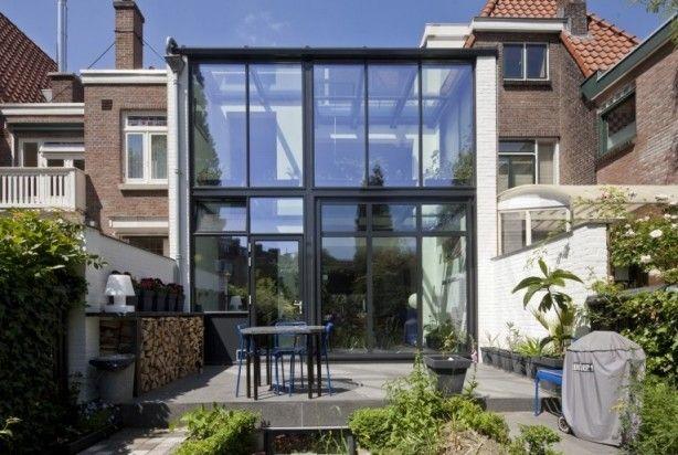 Thuiskantoor Uitbouw Tuin : Uitbouw met staal en glas serre house extensions house en