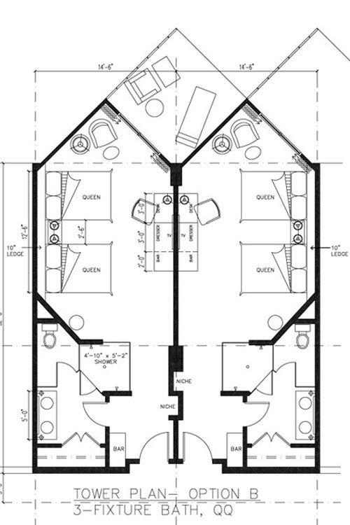 Hotel Room Plan: Hard Rock Hotel - West Wing