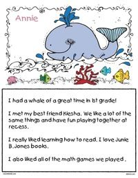 Ocean themed activities:  Color plus black and white whale-themed writing prompt worksheets.