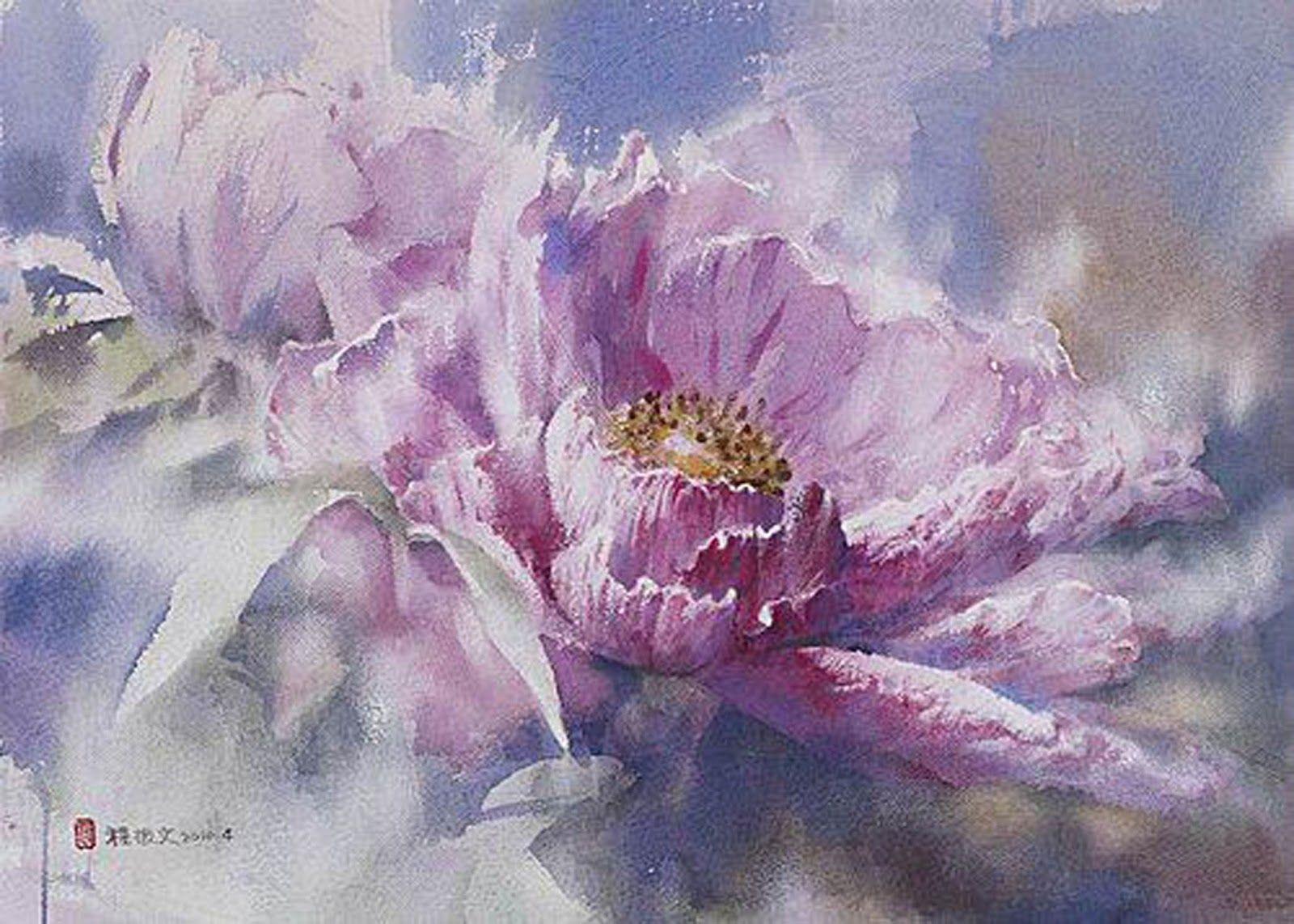 Tulip Pink Inspiration Peinture Fleurs Aquarelle Fleurs Peinture