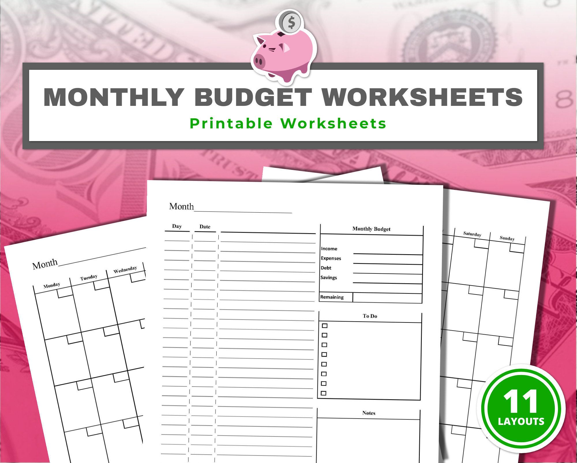 Monthly Budget Printable Worksheets 11 S Printable