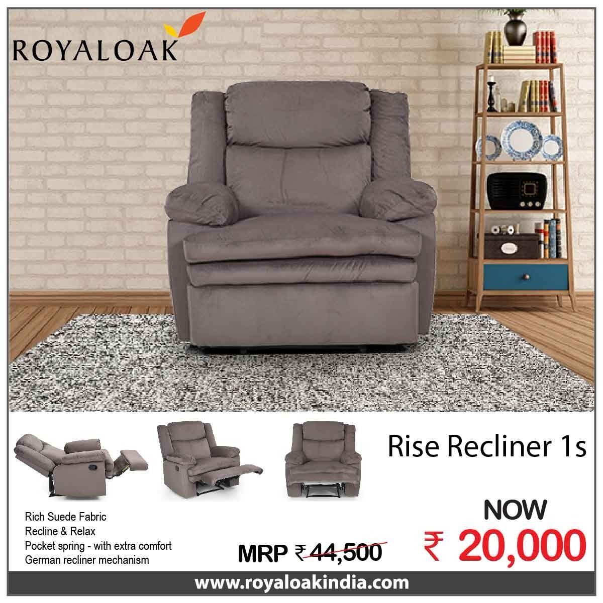 Royaloak Rise Single Seater Manual Recliner In Fabric Recliner Suede Fabric Reclining Sofa