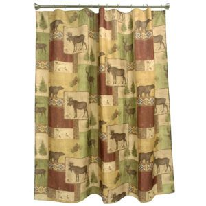 Mountain Moose And Bear Shower Curtain