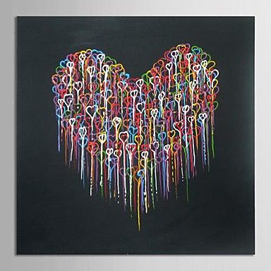 abstrakte moderne oliemaleri håndmalet lærred kunst smeltende hjerte med strakte ramme museum kvalitet mesterværk - DKK kr. 734