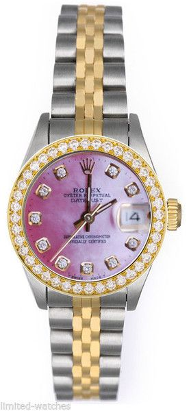 Rolex Datejust Ladies Two Tone Pink Mop Diamond Dial Double Row Bezel Limited Watches Buy New Used Rolex Watch Rolex Rolex Datejust Rolex Watches Women