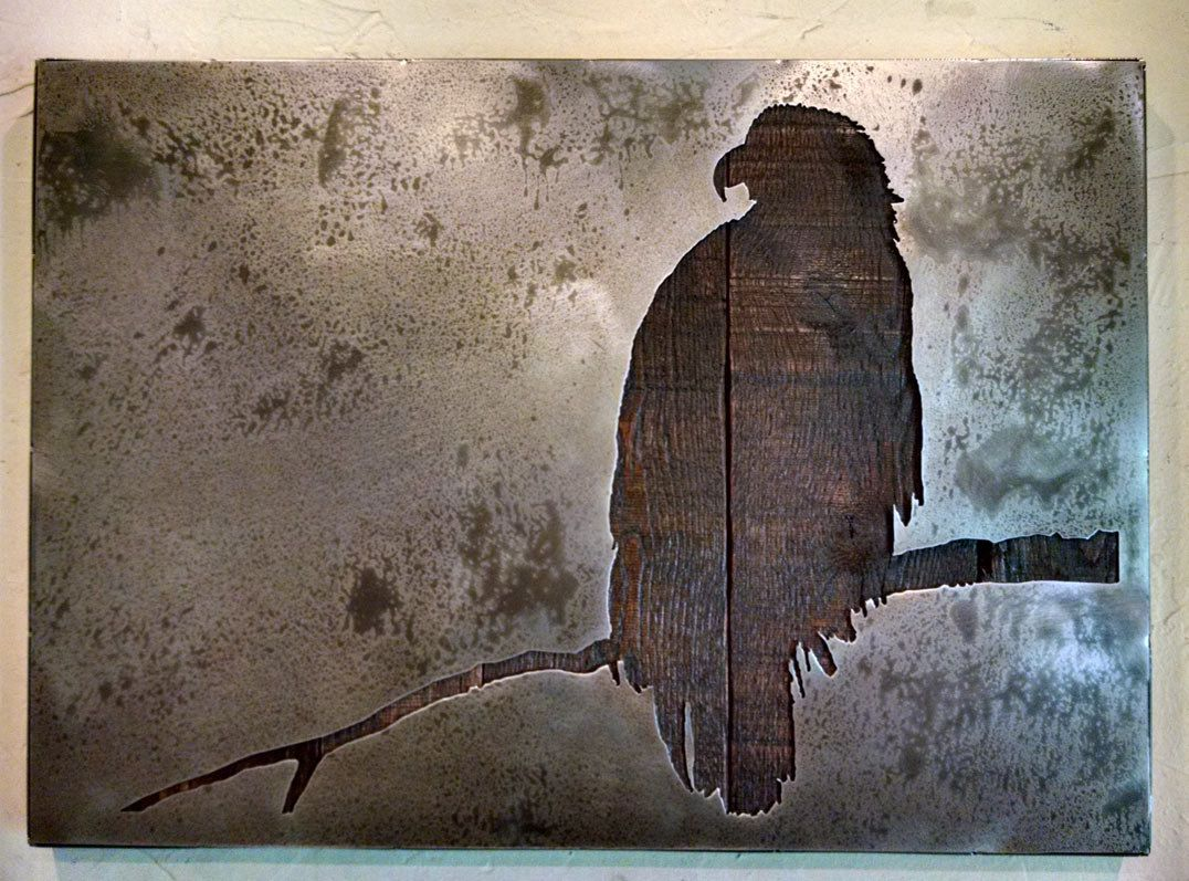 Metal Wood Wall Art Eagle On A Branch  Wall Art  Metal Art  Reclaimed Wood And Aged