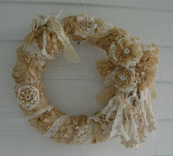 Vintage Tattered Lace Wreath by treasured2 on Etsy, $45.00