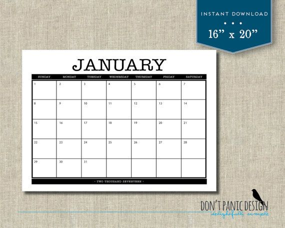 Large  Printable Monthly Calendar   X   Family Planner