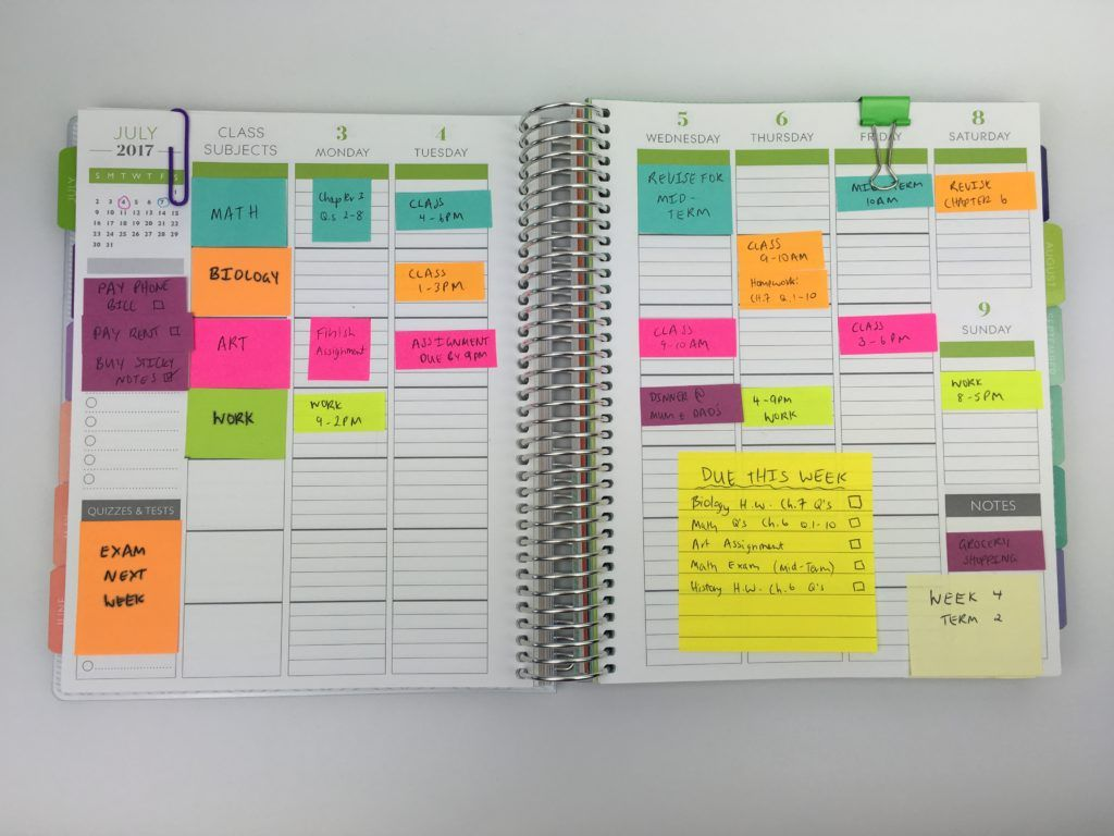 10 Ways to plan using sticky notes School organization