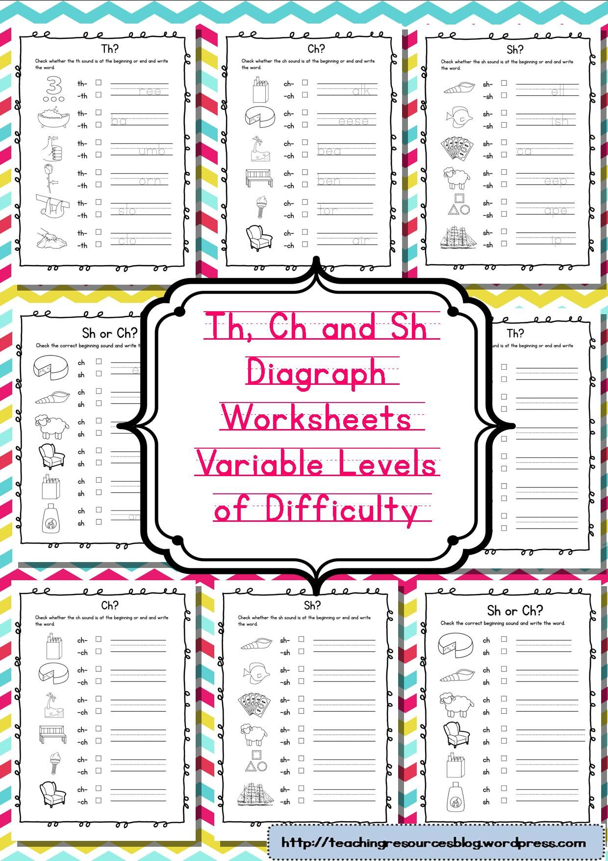 Diagraphs worksheets Ch Sh and Th