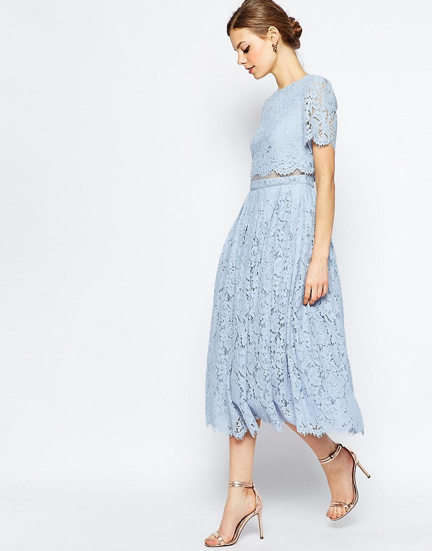 Asoslacecroptopmidipromdress fancy clothing purses watch