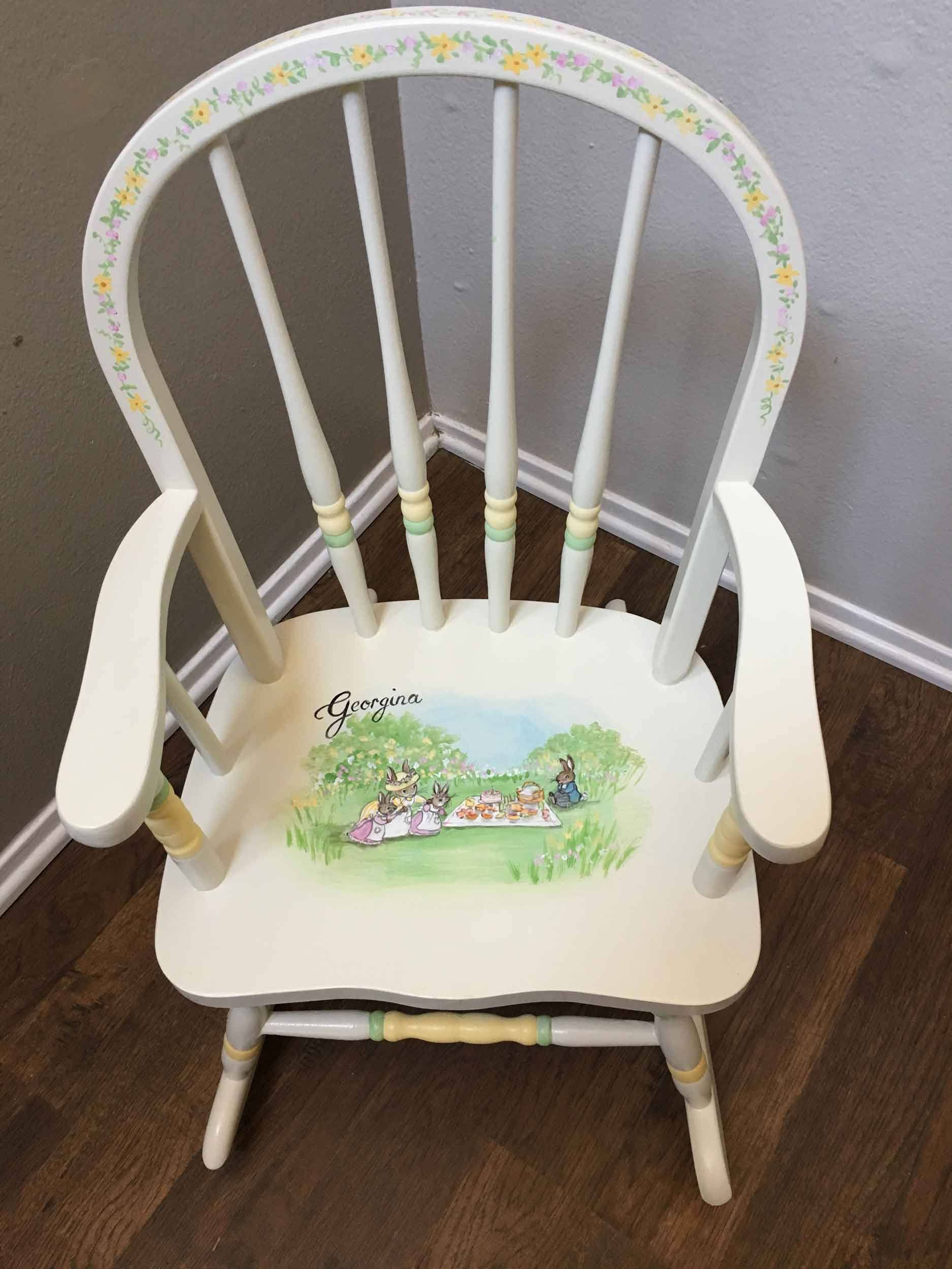 bow back child s rocker bunny rocking chair hand painted rockers