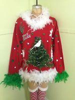 Ugly Tacky Sexy Lighted Christmas Tree Sweater Sweatshirt Sz  L/XL