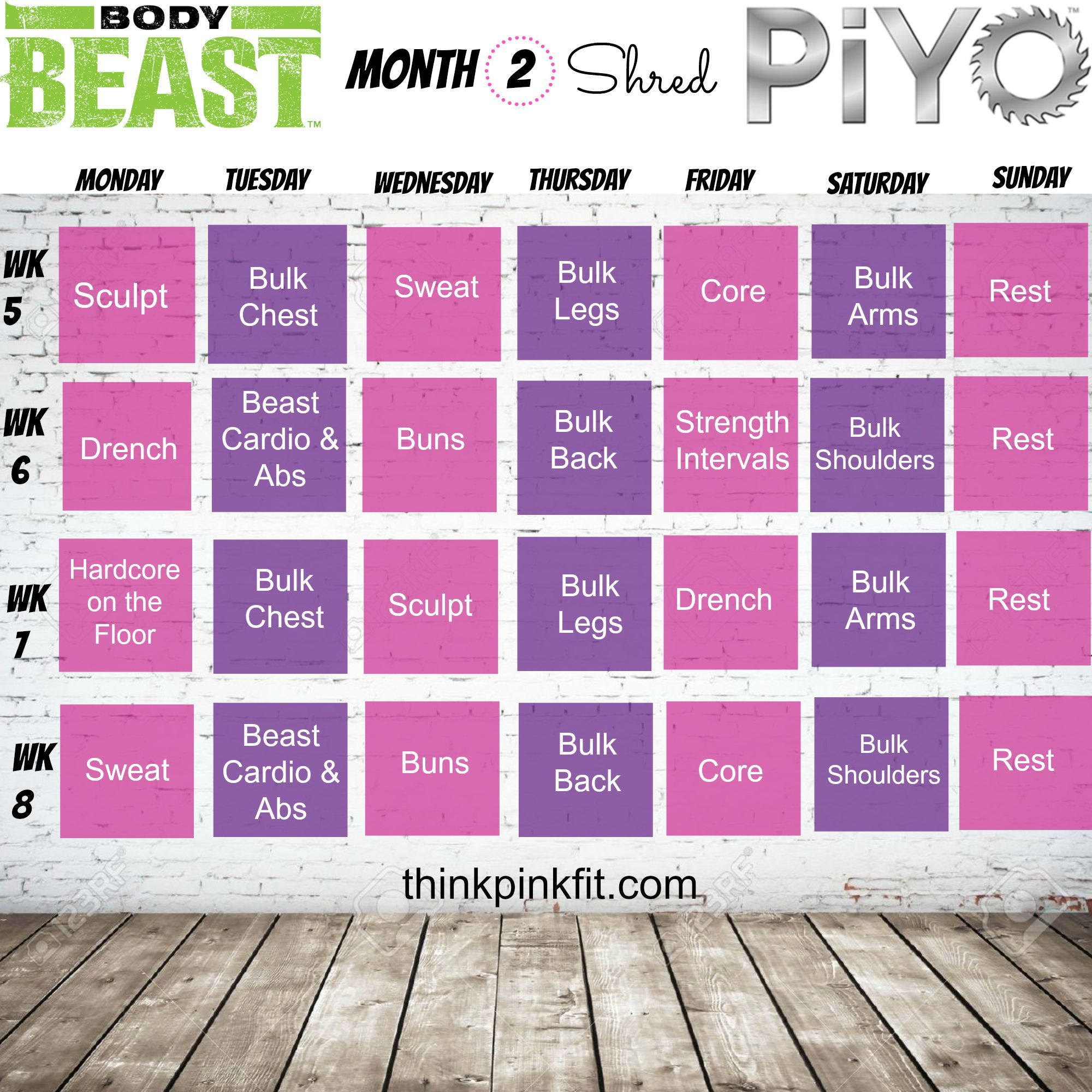 Body Beast Amp Piyo Hybrid Schedule For Strength And