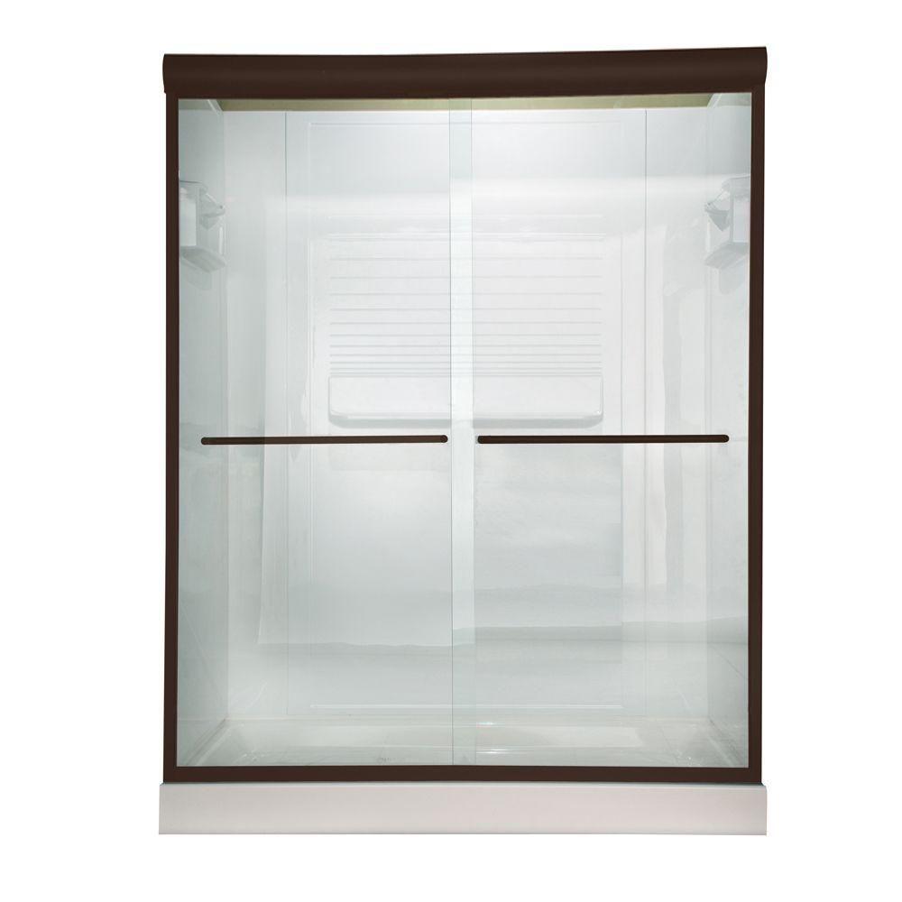 American Standard Euro 48 In X 70 In Semi Frameless Sliding Shower Door In Oil Rubbed Bronze With Clear Glass Am00370 400 224 Shower Doors Frameless Sliding Shower Doors Frameless Shower Doors