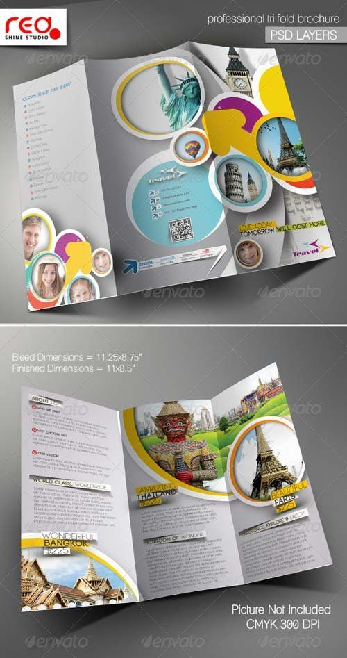 Tri Fold Brochure Template Travel Agency Free