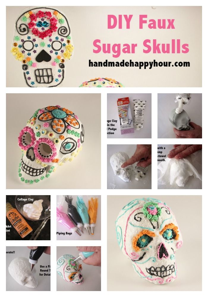 DIY Faux Sugar Skulls with Collage Clay by Mod Podge for Day of the ...