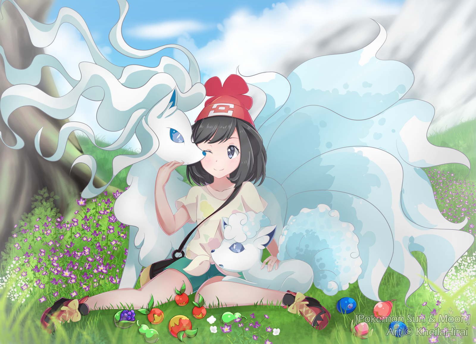 Pokemon trainer with Alola Vulpix and Ninetales + Speedpaint by KheilaHirai