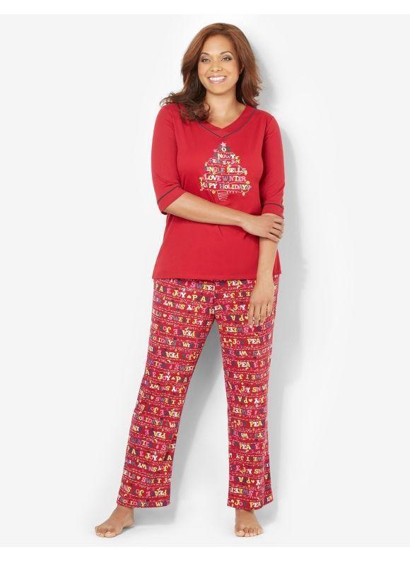 Serenada Catherines Plus Size Sentiments Of Joy Pajama Set - Women s Size  3X 4446a644f
