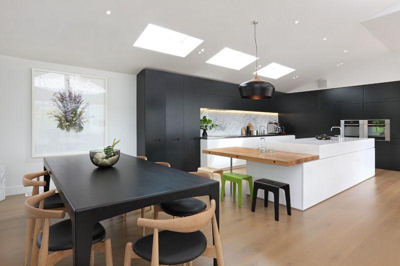 amnagement cuisine blanche noire et bois 35 ides cool - Amenagement Cuisine Ouverte Avec Salle A Manger
