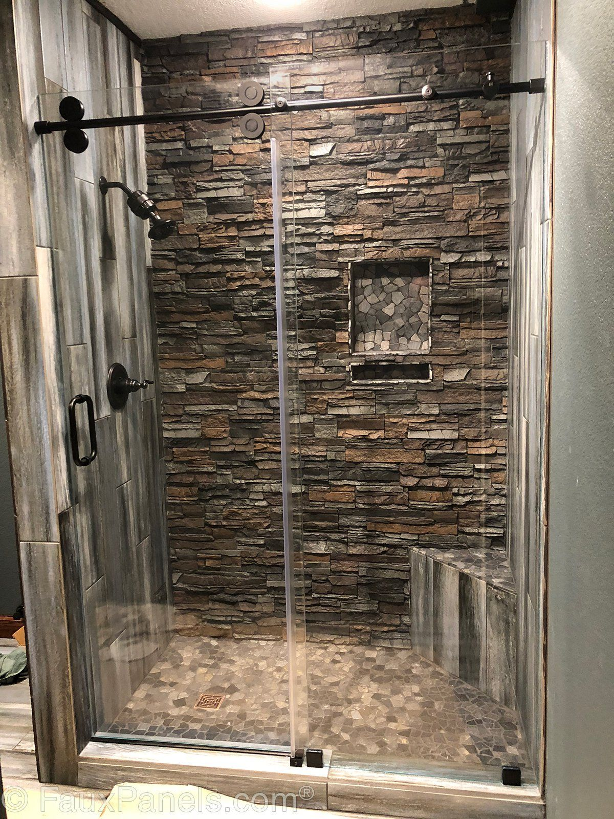 Bathe In Majestic Canyon Gray Panels For A Luxurious Experience Without The High Price Tag Fauxpanels B Stone Tile Bathroom Rustic Bathroom Shower Wet Rooms