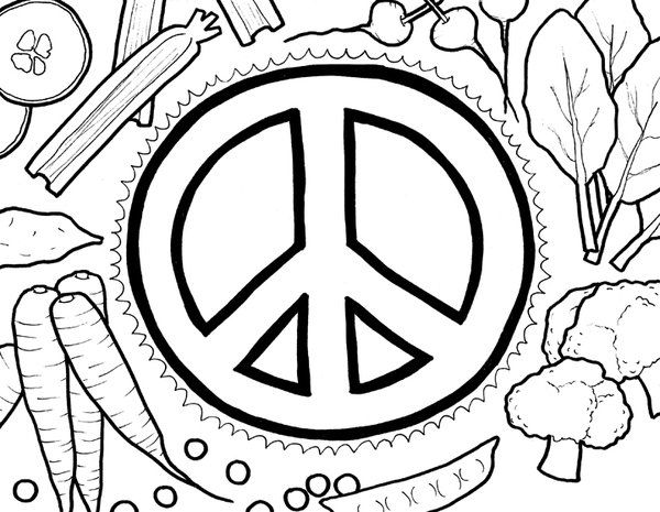 ☮ American Hippie Art ~ Color it Yourself .. Peace Sign and Veggies ...