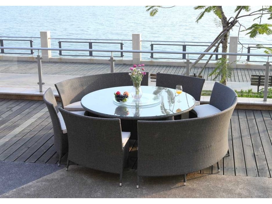 Salle à manger de jardin ARUBA en résine tressée grise : une table ...