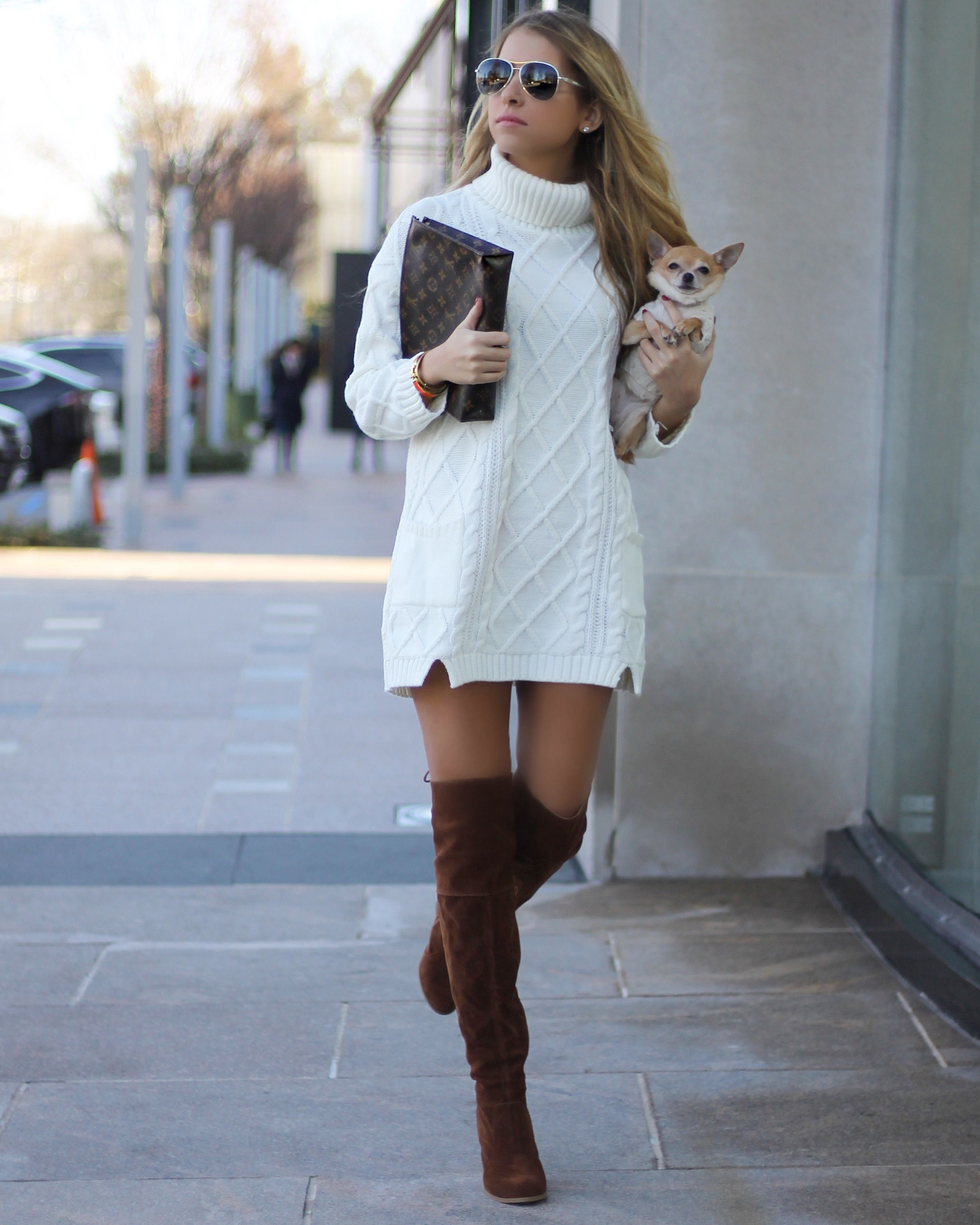 Sweater Dress Over The Knee Boots Fav Color Is Whitekm