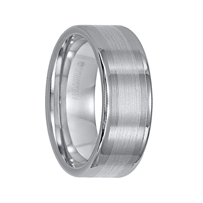 8mm Flat Pipe Cut Brushed /& Polished Finish Grooved Designer Titanium Wedding Band