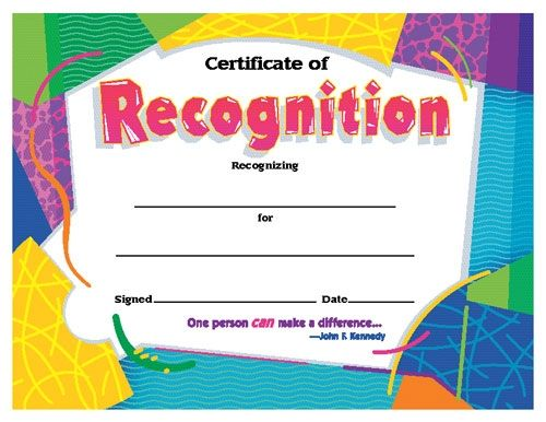Certificates for All Ages, Certificate of Recognition Awards and
